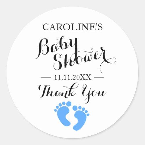 Baby Shower Stickers White Baby Feet Blue BOY