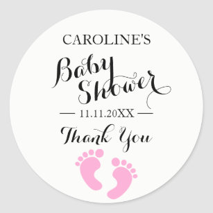 Baby Feet Stickers With Hearts Pink And Black