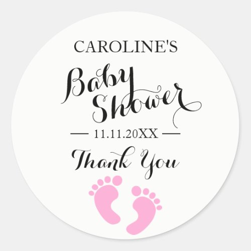 Baby Shower Stickers White Baby Feet Pink GIRL