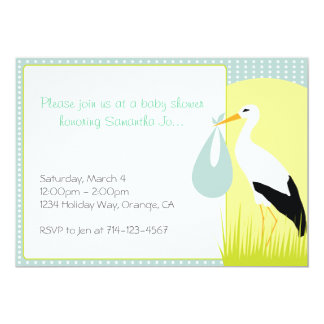 Baby Shower Stork 5x7 Paper Invitation Card