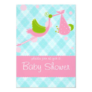 Baby shower Stork blue and pink invitation card