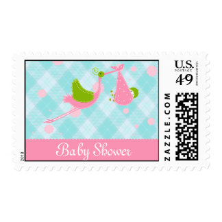Baby shower stork blue and pink invitation postage