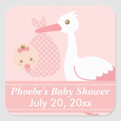 Baby shower stork delivers cute baby girl square sticker for Baby shower stork decoration