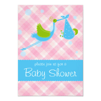 Baby shower Stork pink and blue invitation card