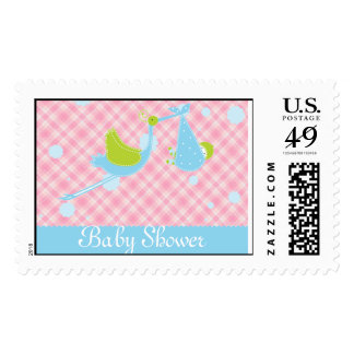 Baby shower Stork pink and blue invitation postage