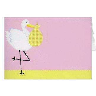 Baby Shower Stork-Pink Cards