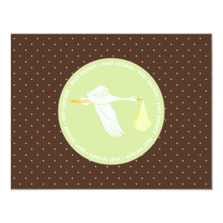 Baby Shower Stork Registry Card - Brown and Green