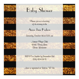 Baby Shower - Stripes, Lines, Glitter - Gold Black 5.25x5.25 Square Paper Invitation Card