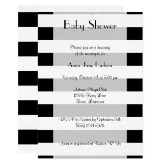 Baby Shower - Stripes, Lines - White Black Card