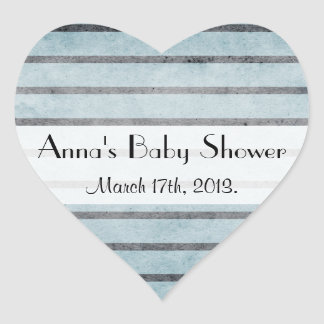 Baby Shower - Stripes Parallel Lines - Blue Heart Stickers