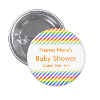 Baby Shower. Stripes with Rainbow Colors. 1 Inch Round Button