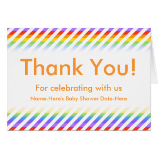 Baby Shower. Stripes with Rainbow Colors. Card