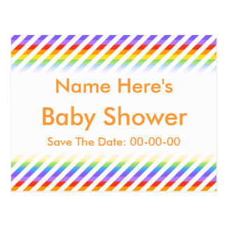 Baby Shower. Stripes with Rainbow Colors. Postcard