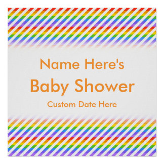 Baby Shower. Stripes with Rainbow Colors. Poster