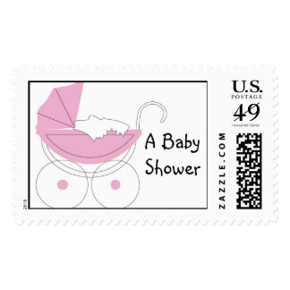 Baby Shower Stroller Postage Stamp