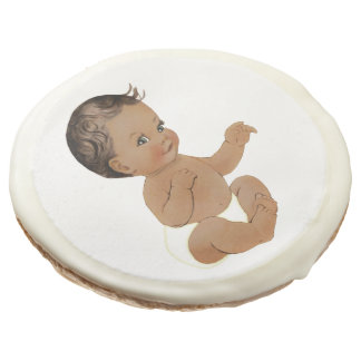 Baby Shower Sugar Cookie with vintage baby