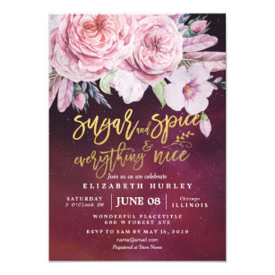 daba1a4e1532 Baby Shower Sugar   Spice   Everything Nice Floral Invitation