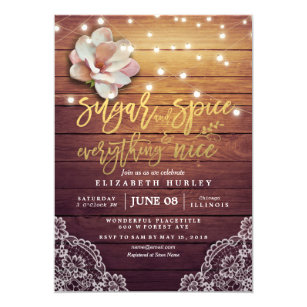 d46a95dff83d Baby Shower Sugar   Spice   Everything Nice Rustic Invitation
