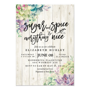 9ec6a0422a77 Baby Shower Sugar Spice Everything Nice Succulents Invitation