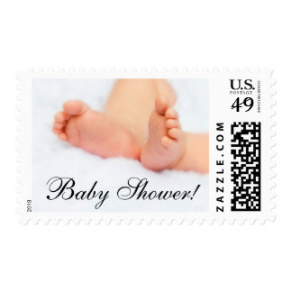 Baby shower sweet little feet photo postage stamp