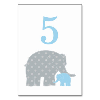 Baby Shower Table Number | Blue Gray Elephant Card