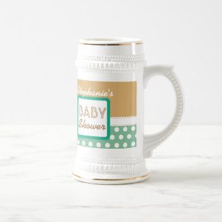 BABY SHOWER Tan Green Polka Dots A20C Beer Stein