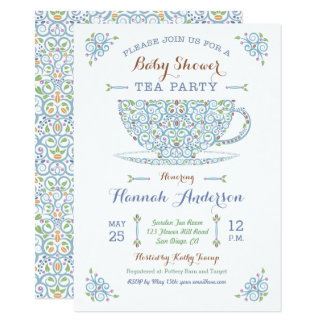 baby shower tea party baby boy ii invitation
