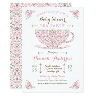 Baby Shower Tea Party- Baby Girl II Invitation