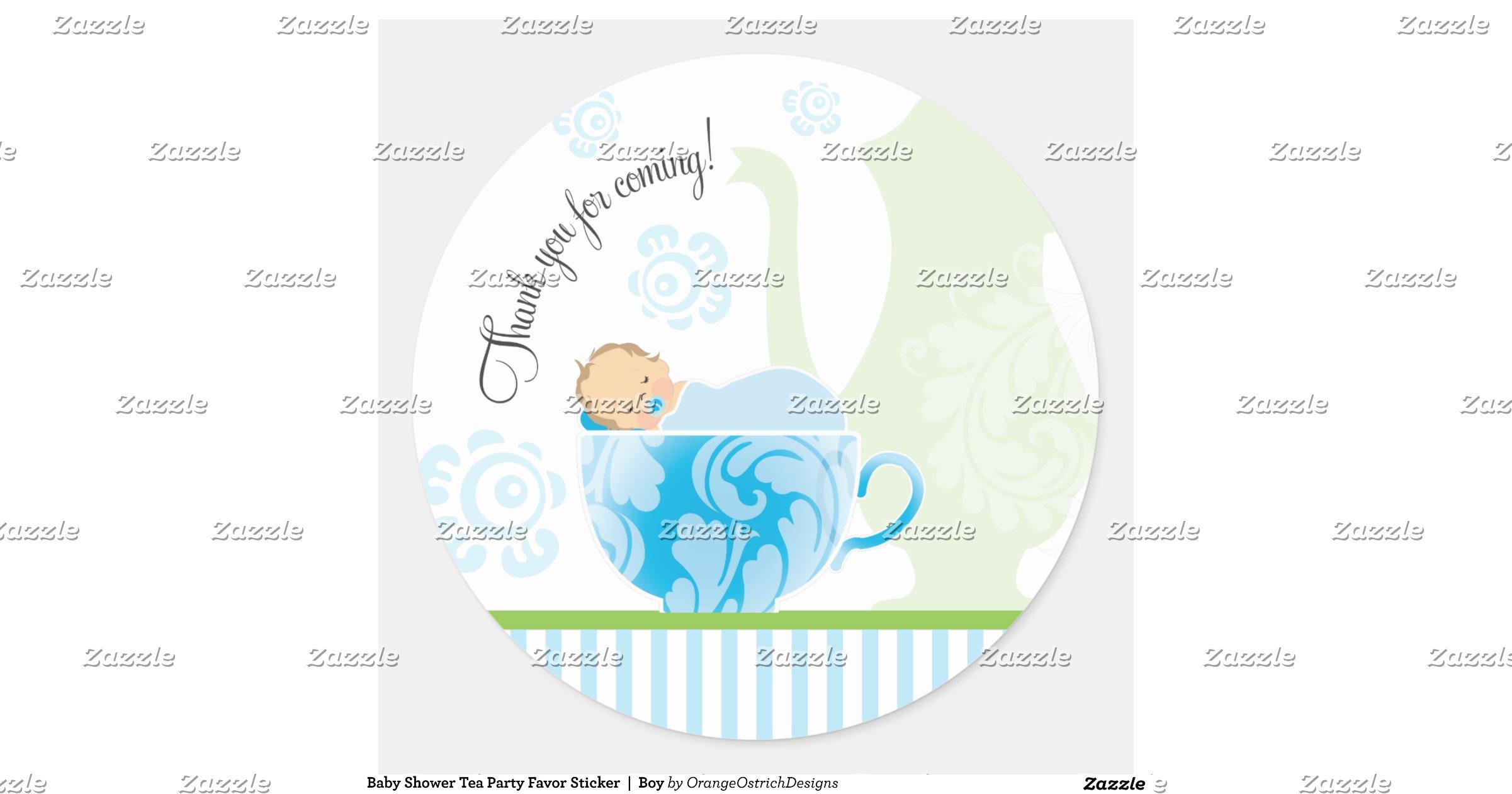 baby shower tea party favor sticker boy