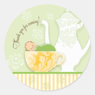 Baby Shower Tea Party Favor Sticker Neutral