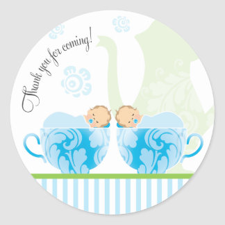 Baby Shower Tea Party Favor Sticker  |  Twin Boys