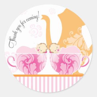 Baby Shower Tea Party Favor Sticker  |  Twin Girls