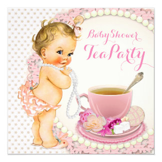 Baby Shower Tea Party 5.25x5.25 Square Paper Invitation Card