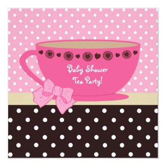 Baby Shower Tea Party Pink And Brown Polka Dots Card