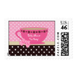 Baby Shower Tea Party Pink And Brown Polka Dots Postage Stamp