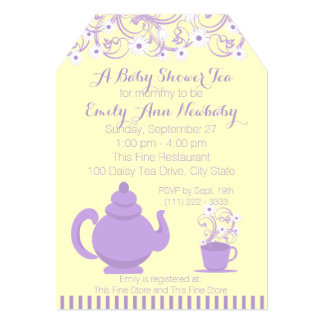 Baby Shower Tea Party Purple and yellow 5x7 Paper Invitation Card