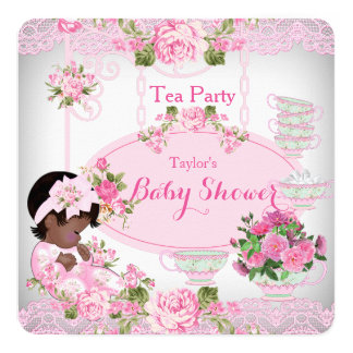 Baby Shower Tea Party Vintage Lace Pink Floral A Card