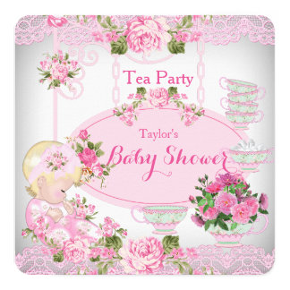 Baby Shower Tea Party Vintage Lace Pink Floral B Card