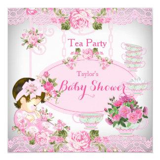 Baby Shower Tea Party Vintage Lace Pink Floral C Card