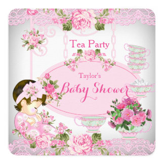 Baby Shower Tea Party Vintage Lace Pink Floral C Invitation