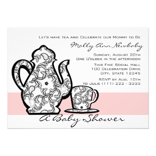 Baby Shower Tea with Changable Color Custom Invites
