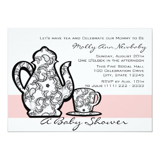 Baby Shower Tea with Changable Color 5x7 Paper Invitation Card