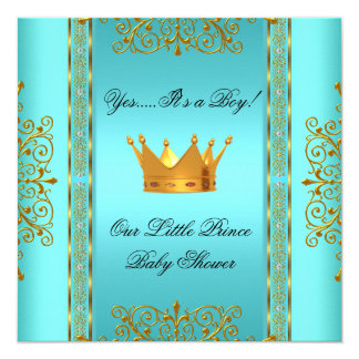 """Baby Shower Teal Blue Gold Boy Prince Crown 5.25"""" Square Invitation Card"""