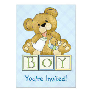 Baby Shower Teddy Bear Boy Card
