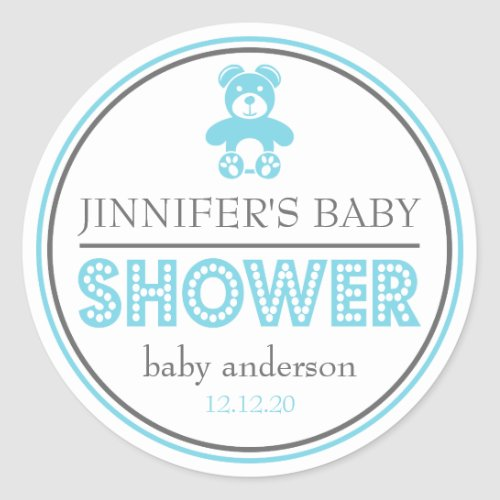 Baby Shower Teddy Bear Favor Sticker Blue  Gray