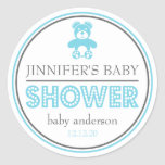 Baby Shower Teddy Bear Favor Sticker (Blue / Gray)