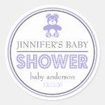 Baby Shower Teddy Bear Favor Sticker (Purple/Gray)
