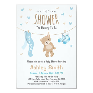 Baby Shower Teddy Bear Invitation Baby Boy