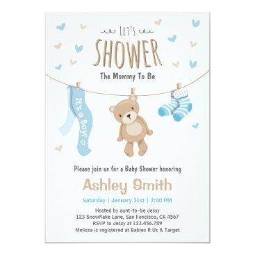 Toddler & Baby themed Baby Shower Teddy Bear Invitation Baby Boy