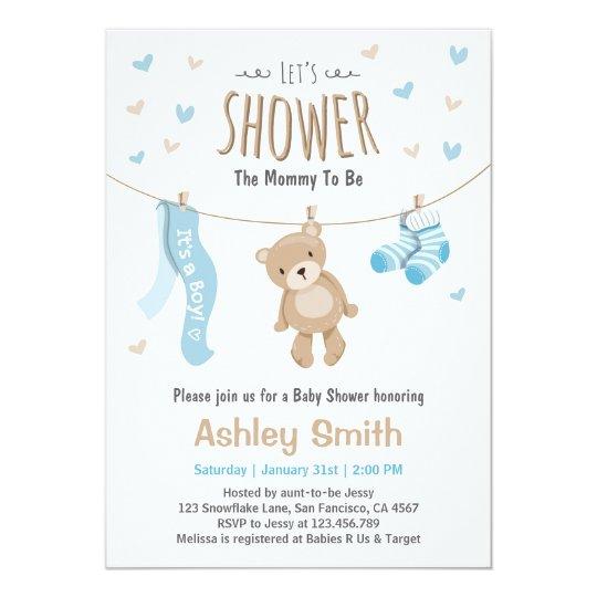 Baby Shower Teddy Bear Invitation Baby Boy Zazzlecom